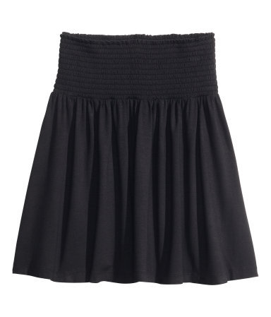 Jersey Skirt - length: mini; pattern: plain; fit: loose/voluminous; waist detail: wide waistband/cummerbund; waist: high rise; predominant colour: black; occasions: casual, work, creative work; style: mini skirt; fibres: viscose/rayon - stretch; hip detail: soft pleats at hip/draping at hip/flared at hip; pattern type: fabric; texture group: jersey - stretchy/drapey; season: s/s 2014