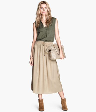Calf Length Skirt - length: calf length; pattern: plain; fit: loose/voluminous; waist: high rise; waist detail: belted waist/tie at waist/drawstring; predominant colour: stone; occasions: casual, creative work; style: maxi skirt; fibres: viscose/rayon - 100%; pattern type: fabric; texture group: woven light midweight; season: s/s 2014