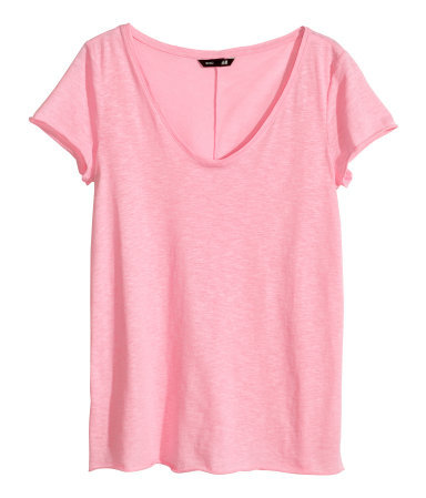 V Neck Jersey Top - neckline: low v-neck; pattern: plain; style: t-shirt; predominant colour: pink; occasions: casual, holiday, creative work; length: standard; fibres: cotton - stretch; fit: loose; sleeve length: short sleeve; sleeve style: standard; pattern type: fabric; texture group: jersey - stretchy/drapey; season: s/s 2014
