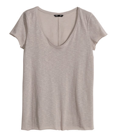 V Neck Jersey Top - neckline: low v-neck; pattern: plain; style: t-shirt; predominant colour: taupe; occasions: casual, holiday, creative work; length: standard; fibres: cotton - 100%; fit: body skimming; sleeve length: short sleeve; sleeve style: standard; pattern type: fabric; texture group: jersey - stretchy/drapey; season: s/s 2014