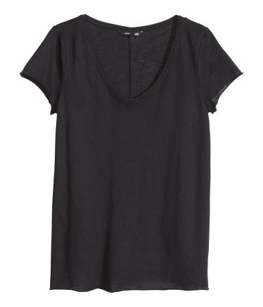 V Neck Jersey Top - neckline: low v-neck; pattern: plain; style: t-shirt; predominant colour: black; occasions: casual, holiday, creative work; length: standard; fibres: cotton - 100%; fit: body skimming; sleeve length: short sleeve; sleeve style: standard; pattern type: fabric; texture group: jersey - stretchy/drapey; season: s/s 2014