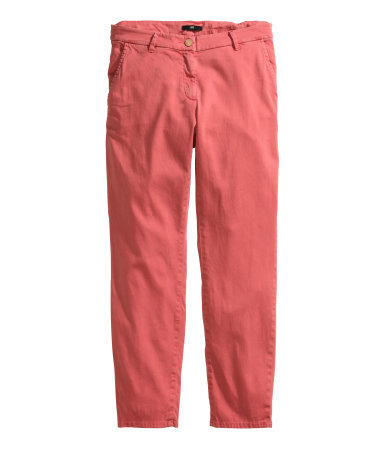 Chinos - length: standard; pattern: plain; waist: mid/regular rise; predominant colour: coral; occasions: casual, holiday, creative work; style: chino; fibres: cotton - stretch; fit: slim leg; pattern type: fabric; texture group: woven light midweight; season: s/s 2014