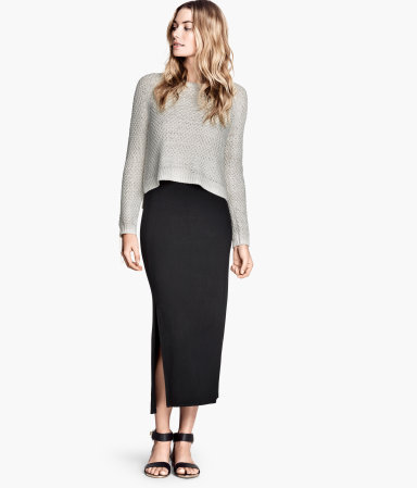 Jersey Skirt - pattern: plain; length: ankle length; fit: body skimming; waist: high rise; predominant colour: black; occasions: casual, evening, holiday, creative work; style: maxi skirt; fibres: viscose/rayon - stretch; hip detail: slits at hip; pattern type: fabric; texture group: jersey - stretchy/drapey; season: s/s 2014