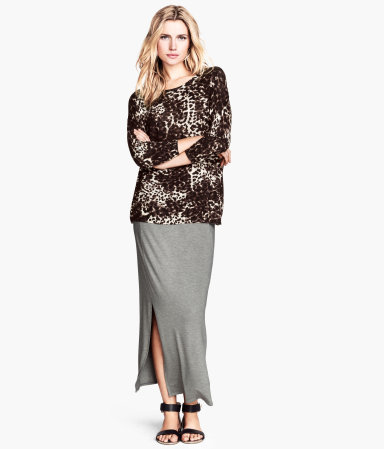Jersey Skirt - pattern: plain; length: ankle length; fit: body skimming; waist detail: elasticated waist; waist: high rise; predominant colour: mid grey; occasions: casual, holiday; style: maxi skirt; fibres: viscose/rayon - stretch; pattern type: fabric; texture group: jersey - stretchy/drapey; season: s/s 2014; wardrobe: basic