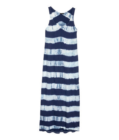Maxi Dress - sleeve style: standard vest straps/shoulder straps; fit: loose; pattern: horizontal stripes; style: maxi dress; length: ankle length; secondary colour: ivory/cream; predominant colour: navy; occasions: casual, holiday; neckline: scoop; fibres: cotton - 100%; sleeve length: sleeveless; pattern type: fabric; pattern size: standard; texture group: jersey - stretchy/drapey; season: s/s 2014