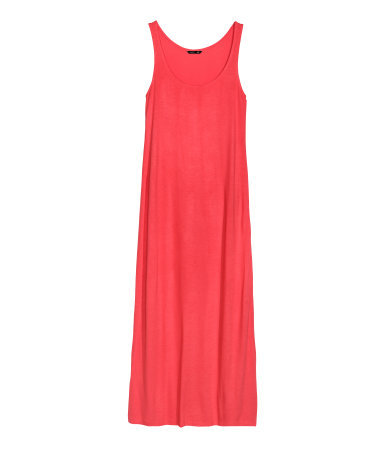 Maxi Dress - sleeve style: standard vest straps/shoulder straps; fit: loose; pattern: plain; style: maxi dress; length: ankle length; predominant colour: coral; occasions: casual, holiday, creative work; neckline: scoop; fibres: viscose/rayon - stretch; sleeve length: sleeveless; pattern type: fabric; texture group: jersey - stretchy/drapey; season: s/s 2014