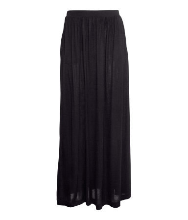 Maxi Skirt - pattern: plain; length: ankle length; fit: body skimming; waist: mid/regular rise; predominant colour: black; occasions: casual, holiday; style: maxi skirt; fibres: viscose/rayon - 100%; pattern type: fabric; texture group: jersey - stretchy/drapey; season: s/s 2014
