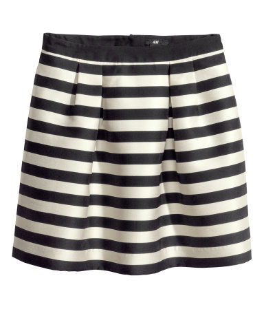 Striped Skirt - length: mini; style: full/prom skirt; fit: loose/voluminous; waist: high rise; secondary colour: ivory/cream; predominant colour: black; occasions: casual, evening, occasion, creative work; pattern type: fabric; texture group: woven light midweight; fibres: viscose/rayon - mix; season: s/s 2014; trends: monochrome; pattern size: standard (bottom); pattern: horizontal stripes (bottom)