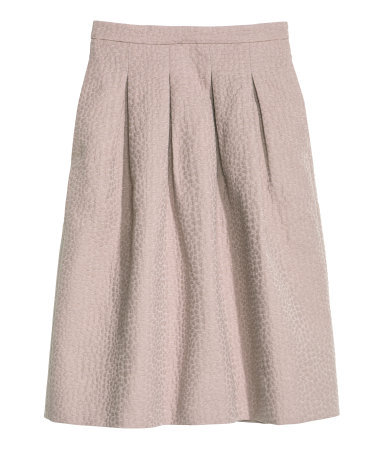 Crinkled Skirt - length: below the knee; pattern: plain; style: full/prom skirt; fit: loose/voluminous; waist: high rise; predominant colour: taupe; occasions: evening, creative work; fibres: cotton - mix; hip detail: adds bulk at the hips; pattern type: fabric; texture group: woven light midweight; season: s/s 2014