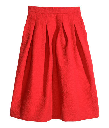 Crinkled Skirt - length: below the knee; pattern: plain; style: full/prom skirt; fit: loose/voluminous; waist: high rise; predominant colour: true red; occasions: evening, occasion, creative work; fibres: cotton - mix; hip detail: structured pleats at hip; pattern type: fabric; texture group: woven light midweight; trends: hot brights; season: s/s 2014