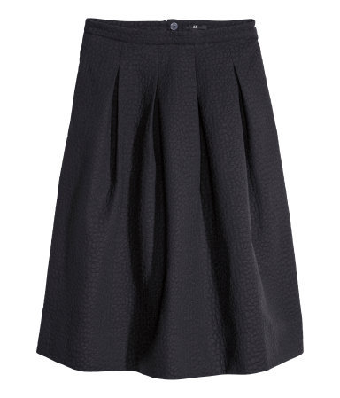 Crinkled Skirt - length: below the knee; pattern: plain; style: full/prom skirt; fit: loose/voluminous; waist: high rise; predominant colour: black; occasions: evening, work, occasion, creative work; fibres: cotton - mix; hip detail: adds bulk at the hips; pattern type: fabric; texture group: woven light midweight; season: s/s 2014