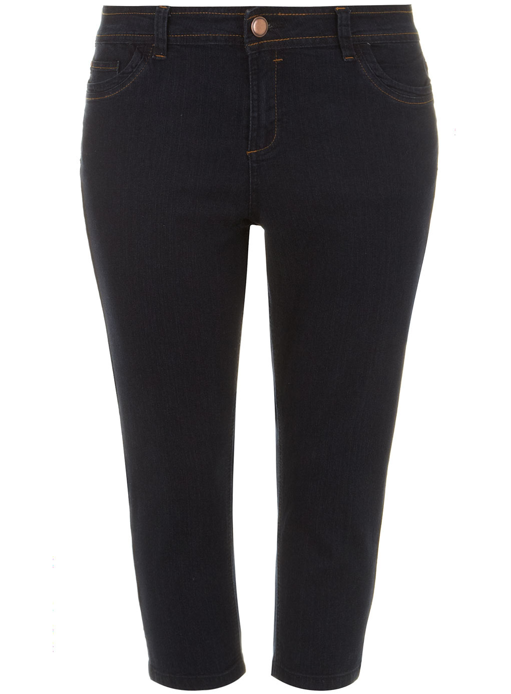 Indigo Denim Cropped Trousers - pattern: plain; waist: high rise; pocket detail: traditional 5 pocket; predominant colour: black; occasions: casual; length: calf length; fibres: cotton - stretch; texture group: denim; fit: skinny/tight leg; pattern type: fabric; style: standard; season: s/s 2014