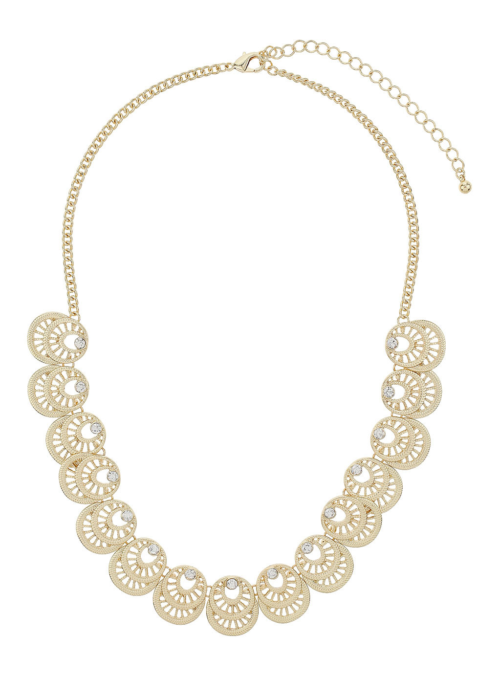 Gold Filigree Collar Necklace - predominant colour: gold; occasions: evening, creative work; length: mid; size: standard; material: chain/metal; finish: metallic; embellishment: crystals/glass; style: bib/statement; season: s/s 2014
