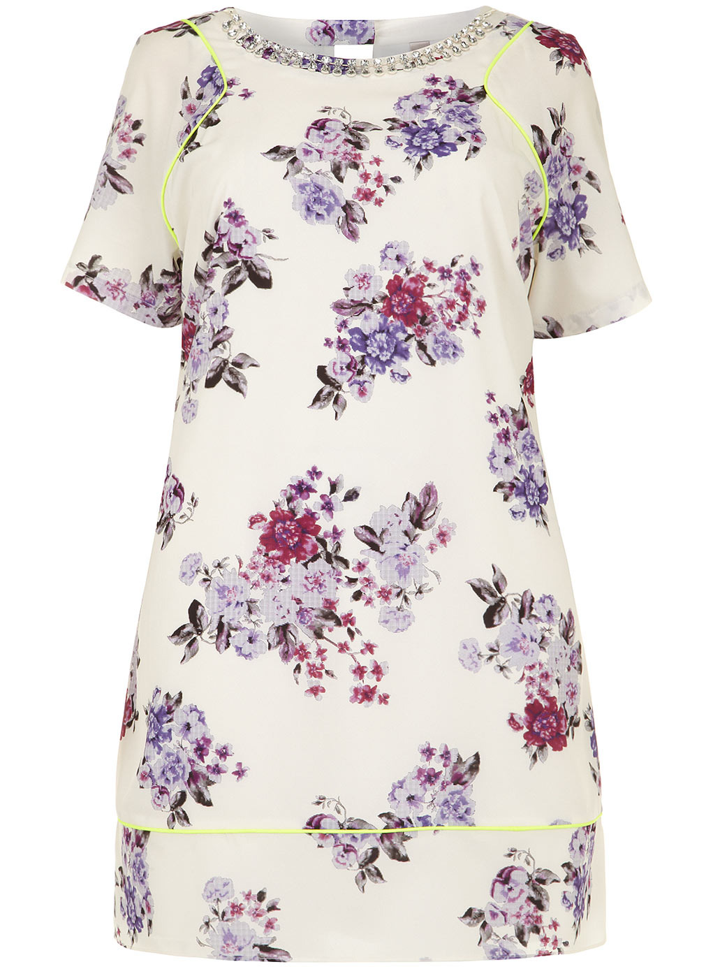 Collection Ivory Printed Shift Dress - style: shift; length: mid thigh; neckline: round neck; fit: tailored/fitted; predominant colour: white; secondary colour: purple; occasions: casual, evening, occasion; fibres: polyester/polyamide - 100%; sleeve length: short sleeve; sleeve style: standard; texture group: crepes; pattern type: fabric; pattern size: standard; pattern: florals; embellishment: crystals/glass; season: s/s 2014; wardrobe: highlight; embellishment location: waist