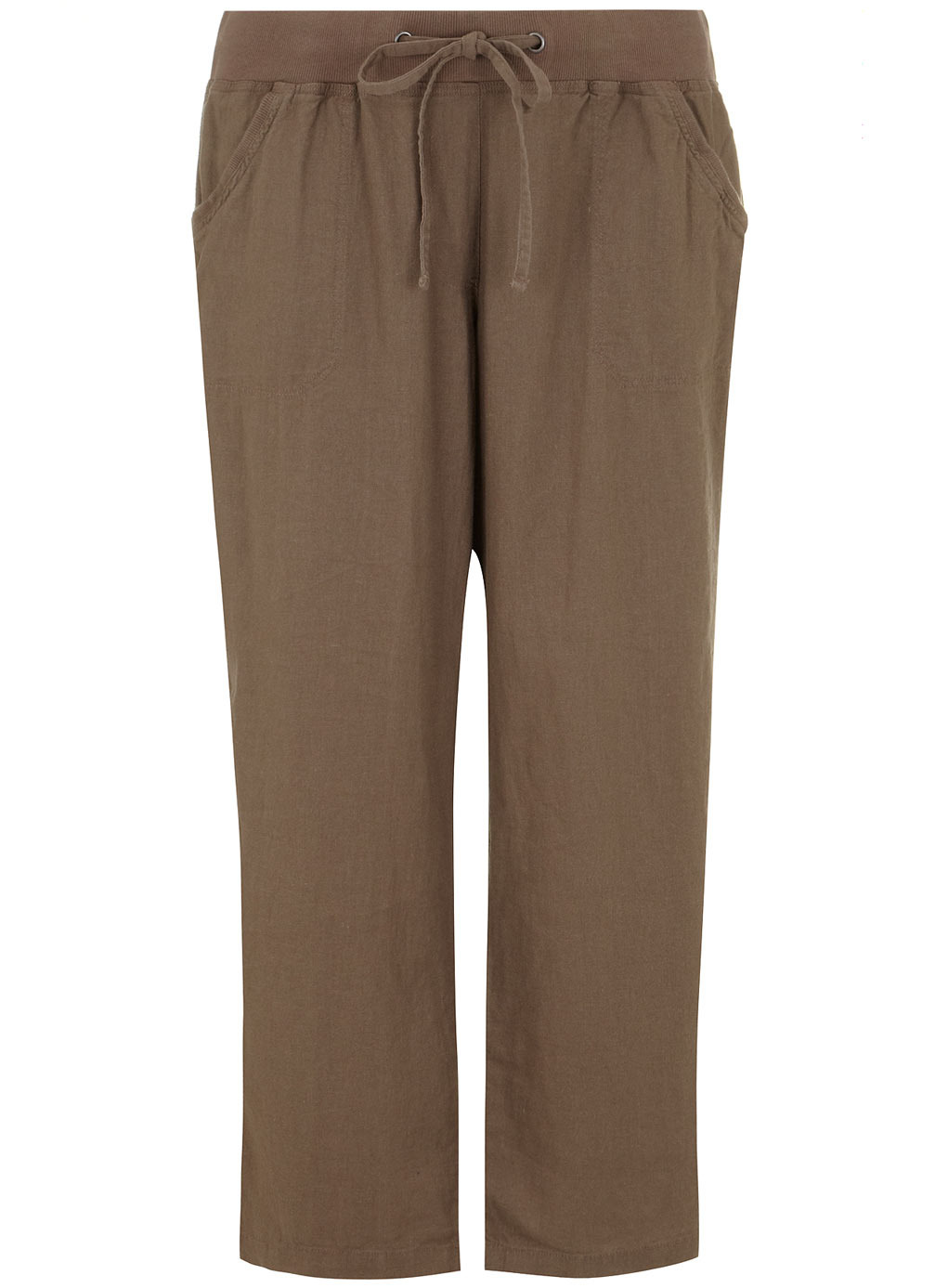 Mocha Linen Blend Trousers - length: standard; pattern: plain; waist detail: belted waist/tie at waist/drawstring; waist: mid/regular rise; predominant colour: taupe; occasions: casual, holiday; fibres: linen - mix; texture group: linen; fit: wide leg; pattern type: fabric; style: standard; season: s/s 2014