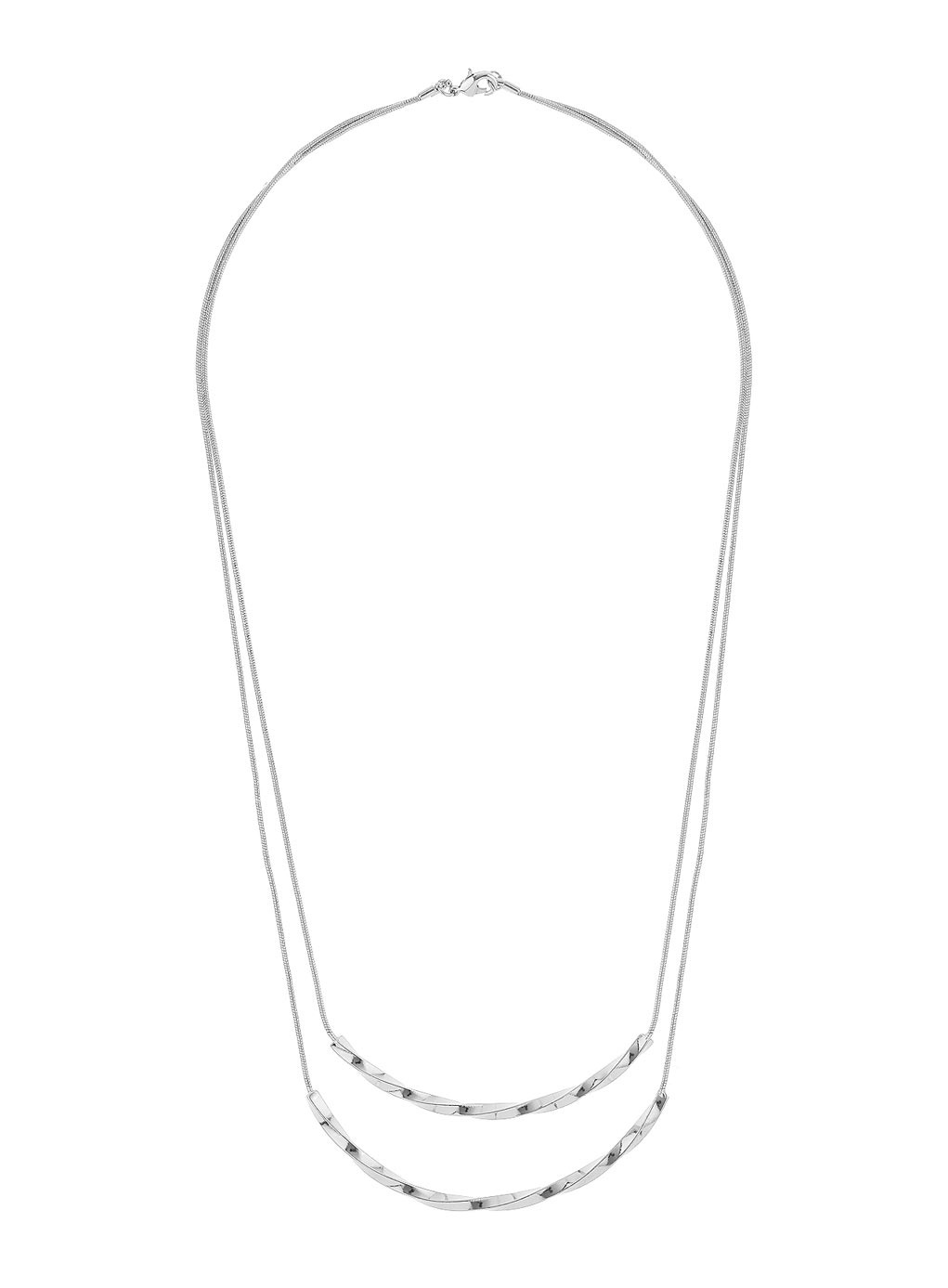 Silver Twisted Bar Necklace - predominant colour: silver; occasions: casual, evening; style: multistrand; length: mid; size: standard; material: chain/metal; finish: metallic; season: s/s 2014