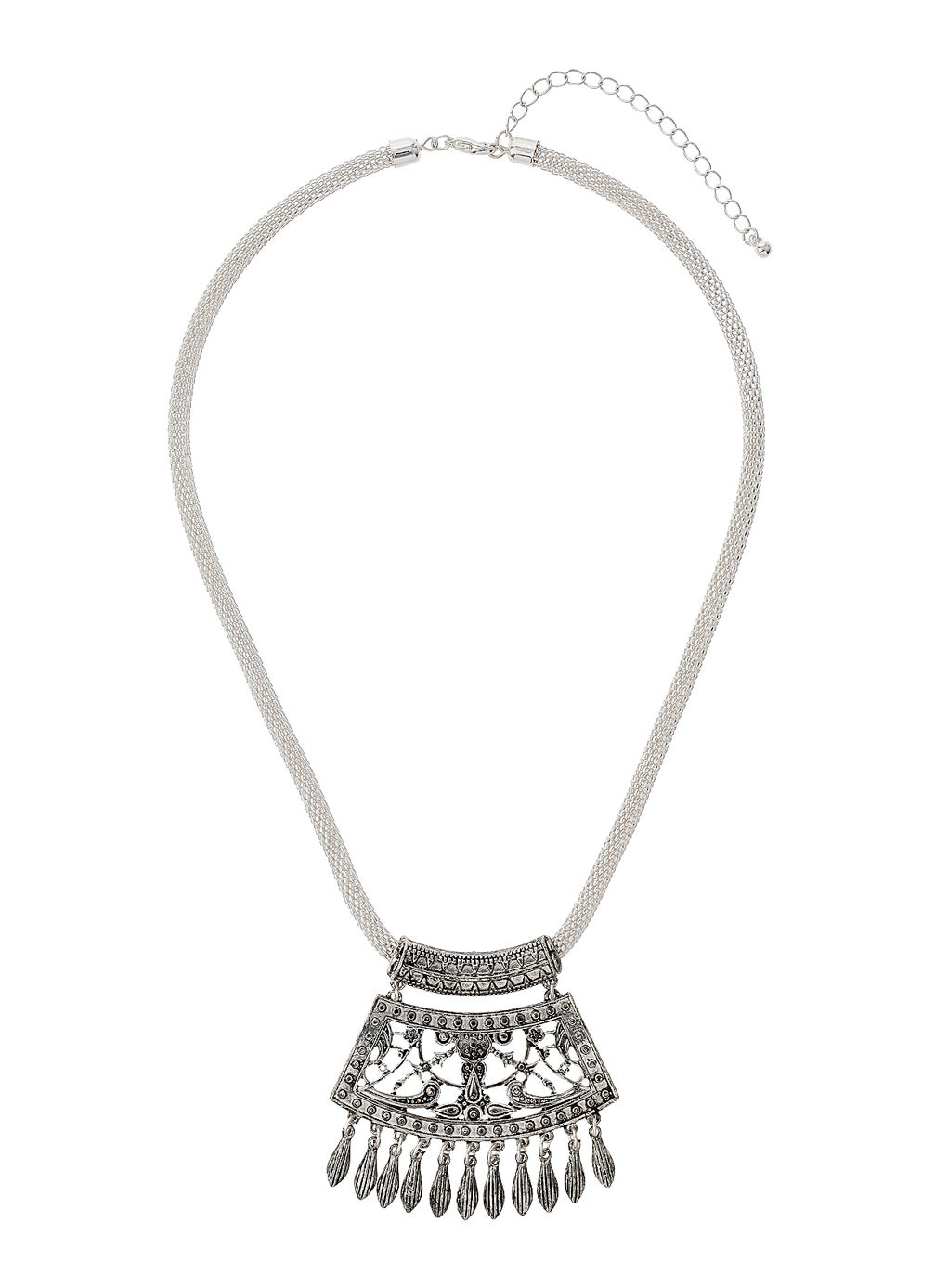 Silver Filigree Detail Necklace - predominant colour: silver; occasions: casual, evening, creative work; length: mid; size: standard; material: chain/metal; finish: metallic; style: bib/statement; season: s/s 2014