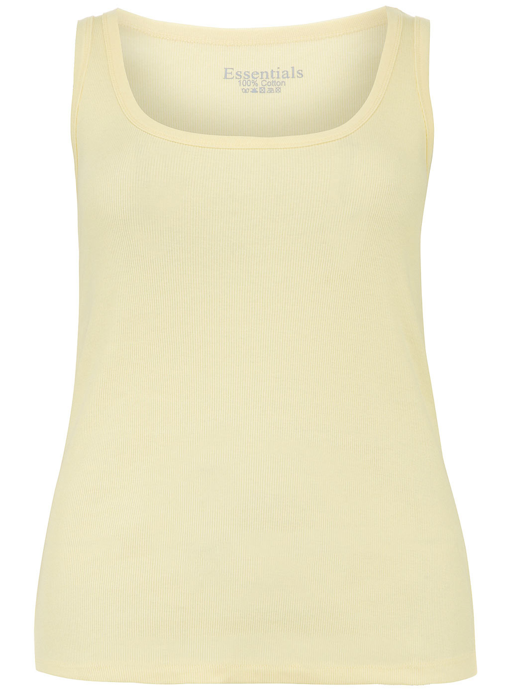 Yellow Ribbed Vest - pattern: plain; sleeve style: sleeveless; style: vest top; predominant colour: primrose yellow; occasions: casual, holiday; length: standard; neckline: scoop; fibres: cotton - 100%; fit: body skimming; sleeve length: sleeveless; texture group: jersey - clingy; pattern type: fabric; season: s/s 2014