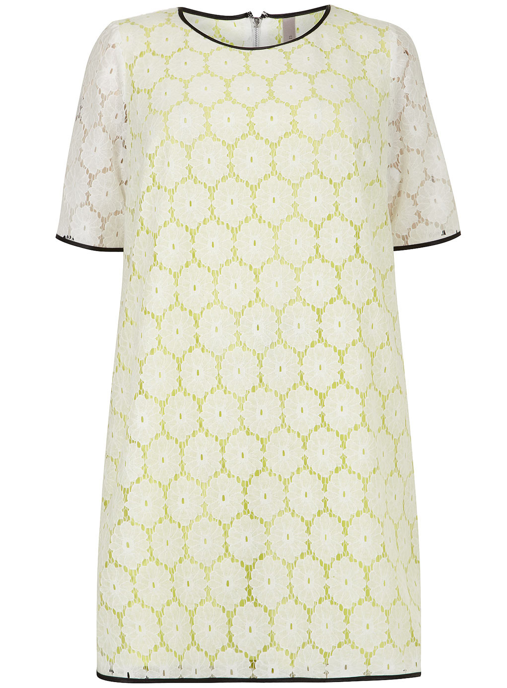 Collection Ivory Lace Contrast Shift Dress - style: shift; length: mid thigh; neckline: round neck; secondary colour: white; predominant colour: primrose yellow; occasions: evening, occasion, creative work; fit: soft a-line; fibres: cotton - mix; sleeve length: short sleeve; sleeve style: standard; texture group: lace; pattern type: fabric; pattern: patterned/print; embellishment: lace; trends: lace; season: s/s 2014