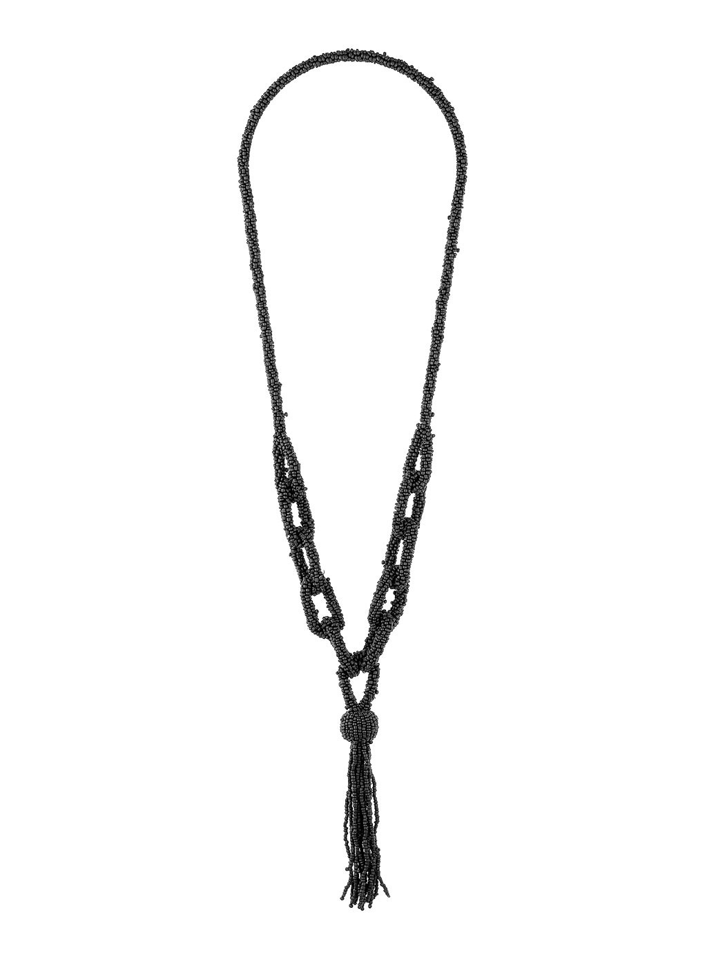 Black Beaded Lariat Necklace - predominant colour: black; occasions: casual, evening, occasion, creative work; style: pendant; length: long; size: large/oversized; material: plastic/rubber; finish: metallic; embellishment: tassels; season: s/s 2014