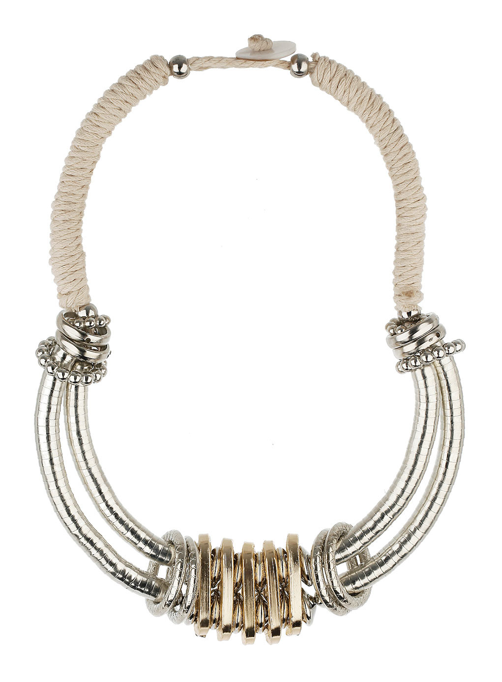 Statement Metal Caps Necklace - secondary colour: ivory/cream; predominant colour: silver; occasions: evening, occasion, creative work; length: short; size: large/oversized; material: chain/metal; finish: metallic; embellishment: chain/metal; style: bib/statement; season: s/s 2014