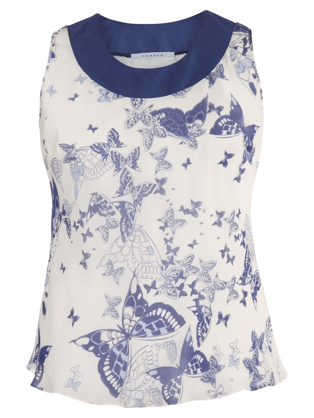 Butterfly Print Silk Camisole, Ivory/Blue - neckline: round neck; sleeve style: sleeveless; predominant colour: white; secondary colour: royal blue; length: standard; style: top; fibres: silk - 100%; occasions: occasion; fit: body skimming; sleeve length: sleeveless; texture group: silky - light; pattern type: fabric; pattern: patterned/print; season: s/s 2014; multicoloured: multicoloured