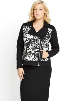 Jacquard Biker Jacket (Available In Sizes 14 28), Black - style: biker; collar: asymmetric biker; fit: slim fit; secondary colour: white; predominant colour: black; occasions: casual, creative work; length: standard; fibres: polyester/polyamide - stretch; sleeve length: long sleeve; sleeve style: standard; collar break: medium; pattern type: fabric; pattern size: standard; pattern: florals; texture group: brocade/jacquard; trends: furious florals, monochrome; season: s/s 2014
