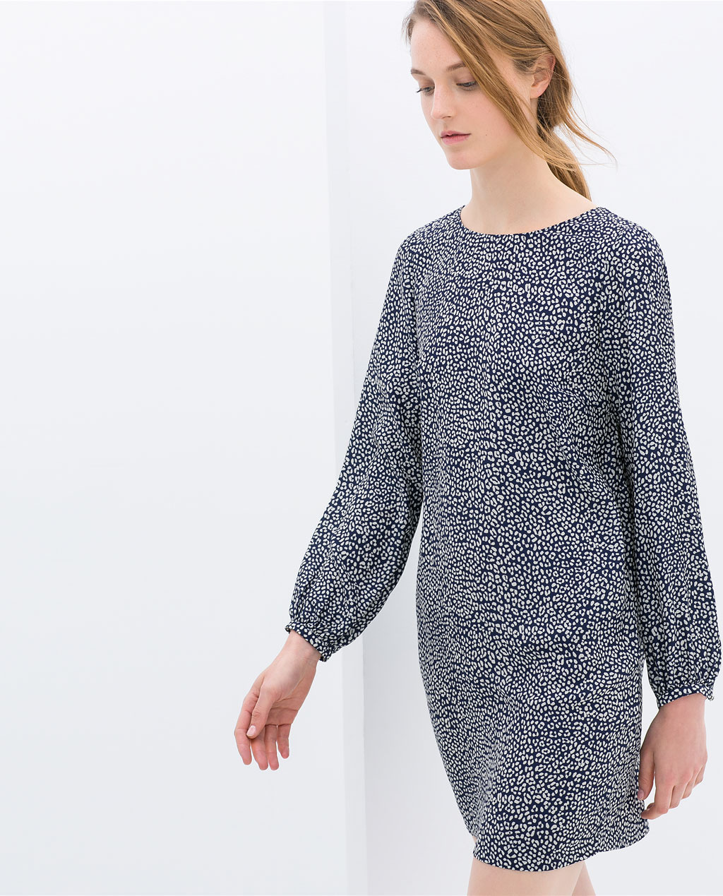 Printed Dress - style: tunic; length: mid thigh; fit: loose; secondary colour: white; predominant colour: navy; occasions: casual, evening, creative work; fibres: polyester/polyamide - 100%; neckline: crew; sleeve length: long sleeve; sleeve style: standard; pattern type: fabric; pattern size: standard; pattern: patterned/print; texture group: woven light midweight; trends: world traveller; season: s/s 2014