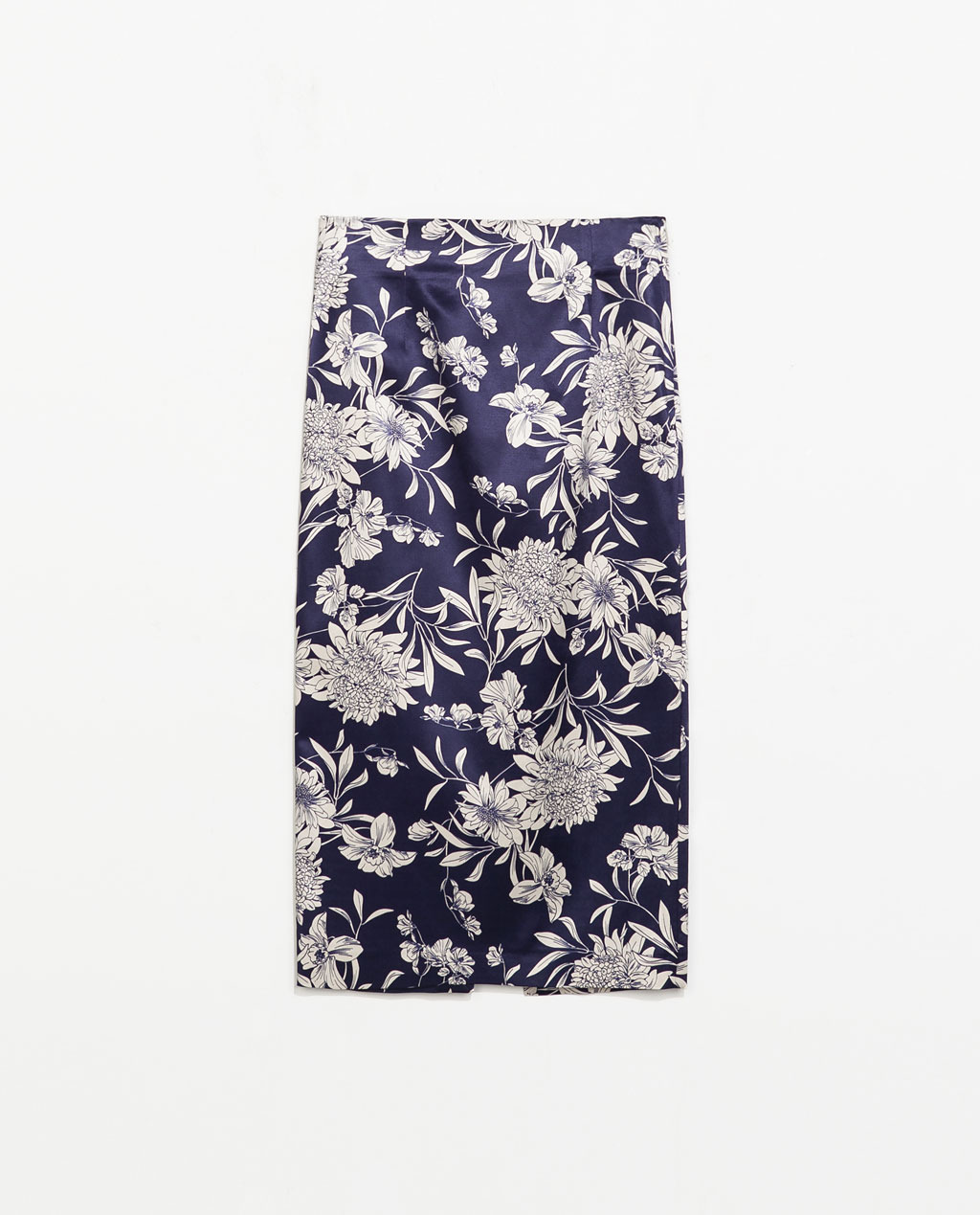 Printed Pencil Skirt - length: below the knee; style: pencil; waist: mid/regular rise; secondary colour: white; predominant colour: navy; occasions: evening, work, occasion, creative work; fibres: viscose/rayon - stretch; texture group: structured shiny - satin/tafetta/silk etc.; fit: straight cut; pattern type: fabric; pattern: florals; trends: furious florals; season: s/s 2014; pattern size: big & busy (bottom)