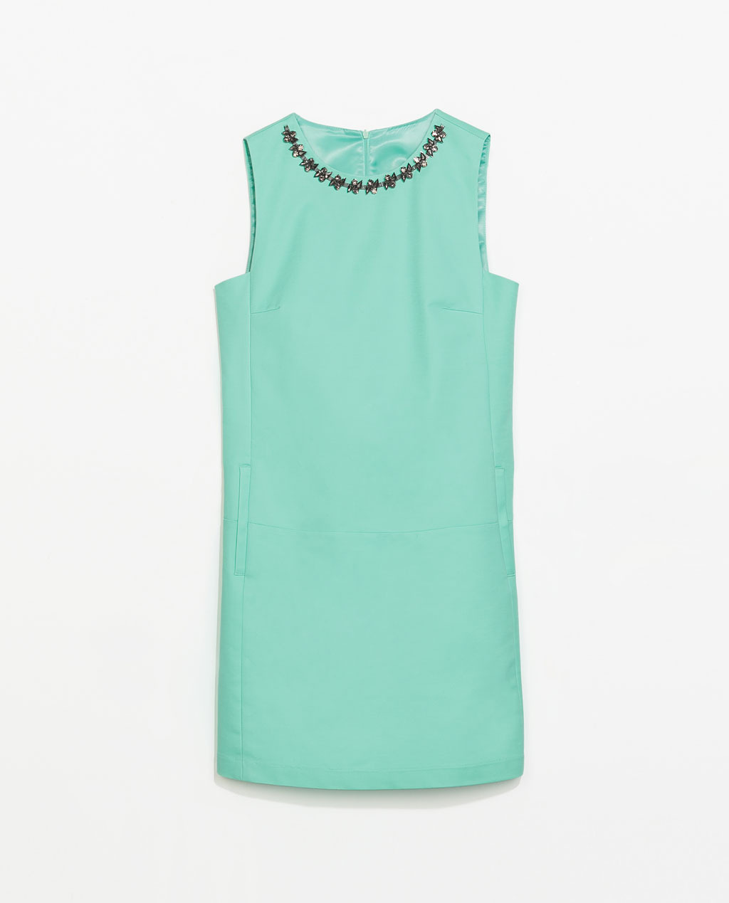 Dress With Embellished Neckline - style: shift; length: mini; pattern: plain; sleeve style: sleeveless; predominant colour: mint green; occasions: evening, occasion, holiday; fit: straight cut; fibres: cotton - stretch; neckline: crew; sleeve length: sleeveless; texture group: cotton feel fabrics; pattern type: fabric; embellishment: jewels/stone; trends: sorbet shades, summer sparkle; secondary colour: pewter; season: s/s 2014