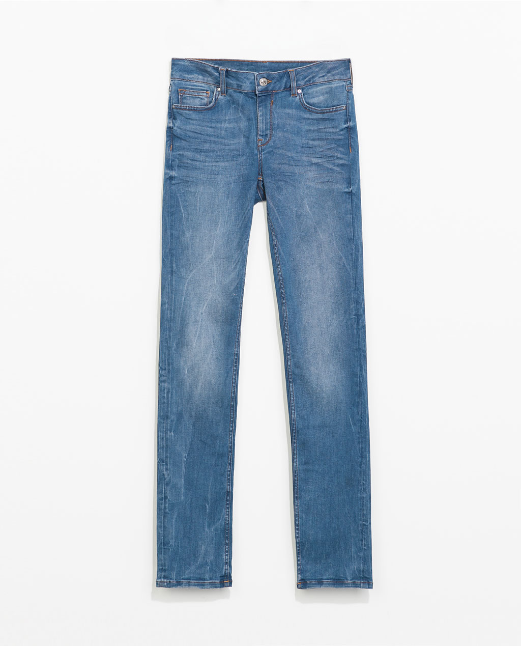 Straight Leg Jeans - style: straight leg; length: standard; pattern: plain; pocket detail: traditional 5 pocket; waist: mid/regular rise; predominant colour: denim; occasions: casual, creative work; fibres: cotton - stretch; jeans detail: shading down centre of thigh; texture group: denim; pattern type: fabric; season: s/s 2014