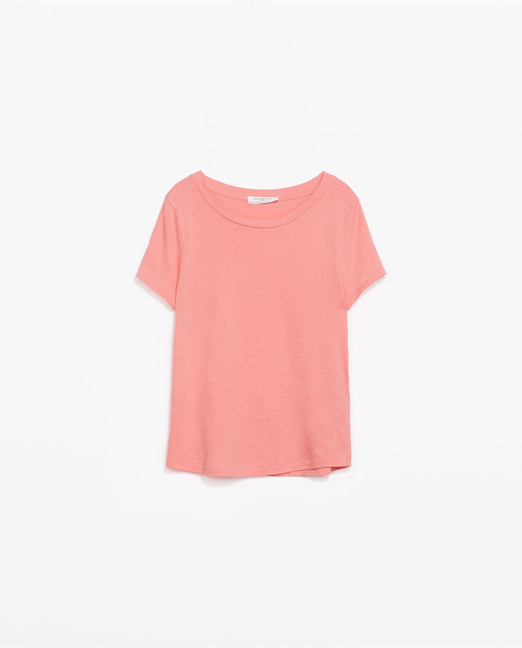 Organic Cotton T Shirt - pattern: plain; style: t-shirt; predominant colour: pink; occasions: casual, holiday; length: standard; neckline: scoop; fibres: cotton - 100%; fit: loose; sleeve length: short sleeve; sleeve style: standard; pattern type: fabric; texture group: jersey - stretchy/drapey; trends: sorbet shades; season: s/s 2014