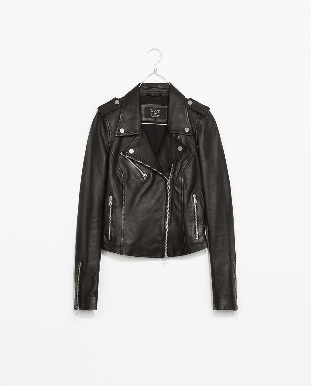 Leather Biker Jacket - pattern: plain; style: biker; shoulder detail: obvious epaulette; collar: asymmetric biker; fit: slim fit; predominant colour: black; occasions: casual, evening, creative work; length: standard; fibres: leather - 100%; sleeve length: long sleeve; sleeve style: standard; texture group: leather; collar break: medium; pattern type: fabric; season: s/s 2014