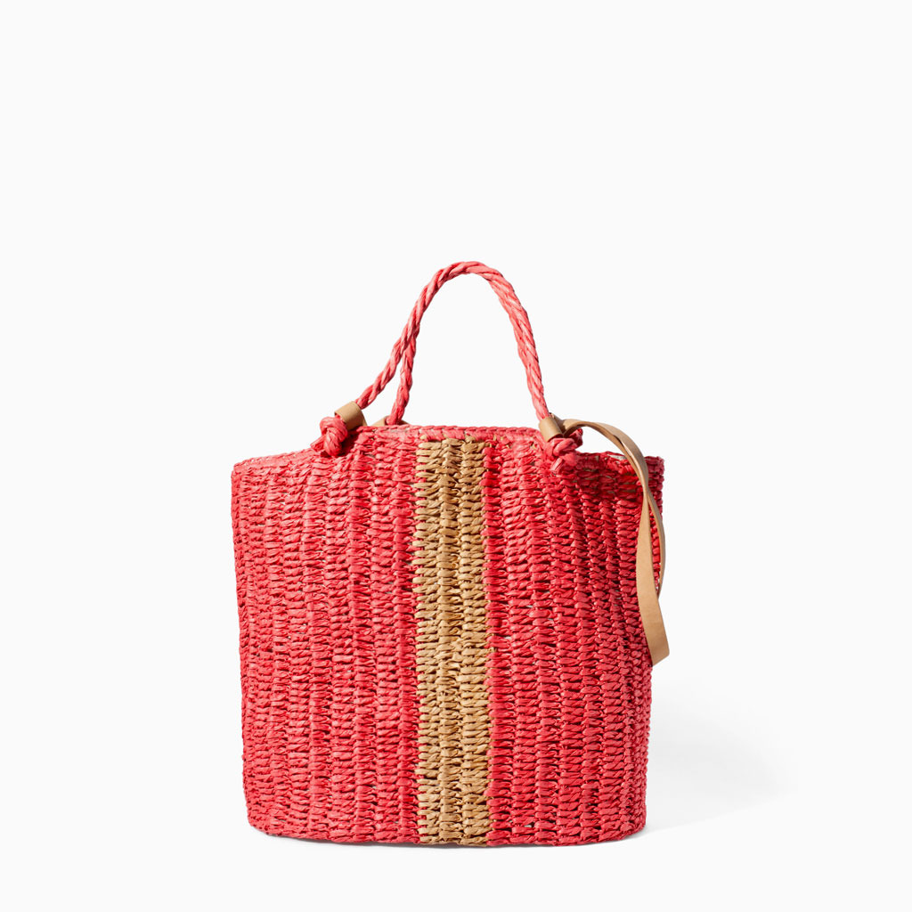 Braided Shopper - predominant colour: bright orange; secondary colour: camel; occasions: casual, holiday, creative work; style: tote; length: handle; size: standard; material: macrame/raffia/straw; finish: plain; pattern: colourblock; trends: hot brights; season: s/s 2014