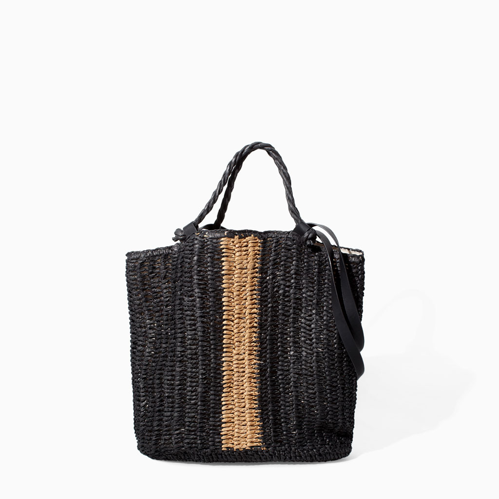Braided Shopper - secondary colour: camel; predominant colour: black; occasions: casual, holiday, creative work; type of pattern: light; style: tote; length: handle; size: standard; material: macrame/raffia/straw; finish: plain; pattern: colourblock; season: s/s 2014