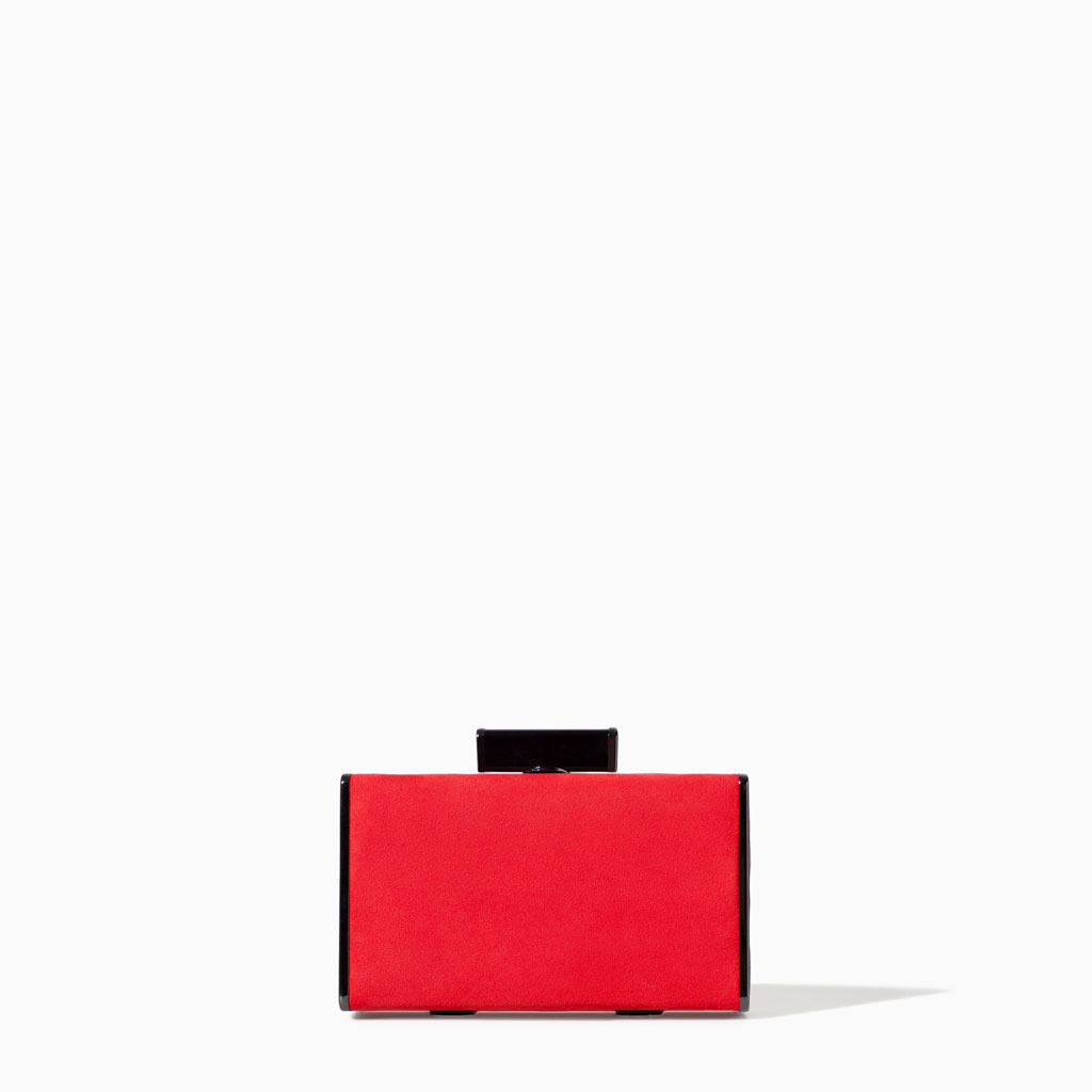 Color Block MinaudiÉre - predominant colour: true red; occasions: evening, occasion, holiday; type of pattern: standard; style: clutch; length: hand carry; size: small; material: fabric; pattern: plain; finish: plain; trends: hot brights; season: s/s 2014