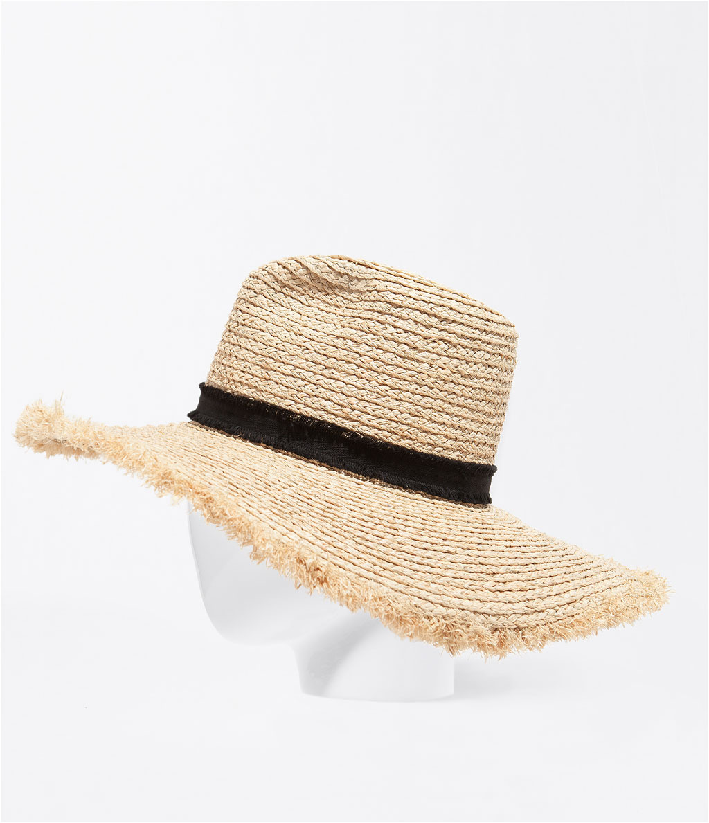 Wide Brim Hat With Ribbon - predominant colour: stone; occasions: casual, holiday; type of pattern: standard; style: wide brimmed; size: large; material: macrame/raffia/straw; pattern: plain; season: s/s 2014