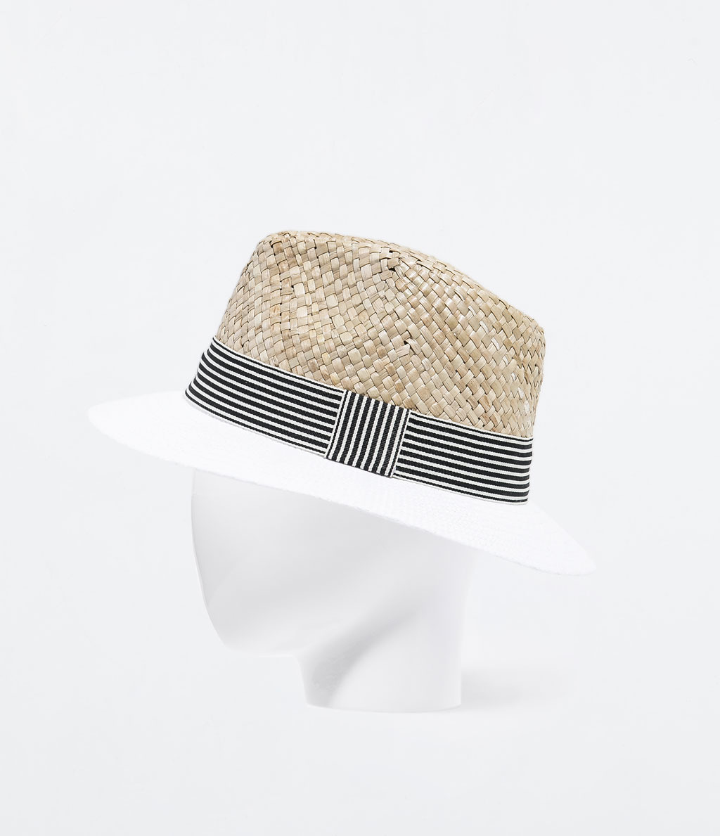 Contrast Brim Raffia Hat - predominant colour: nude; secondary colour: black; occasions: casual, holiday; type of pattern: light; embellishment: ribbon; style: sunhat; size: standard; material: macrame/raffia/straw; pattern: striped; season: s/s 2014