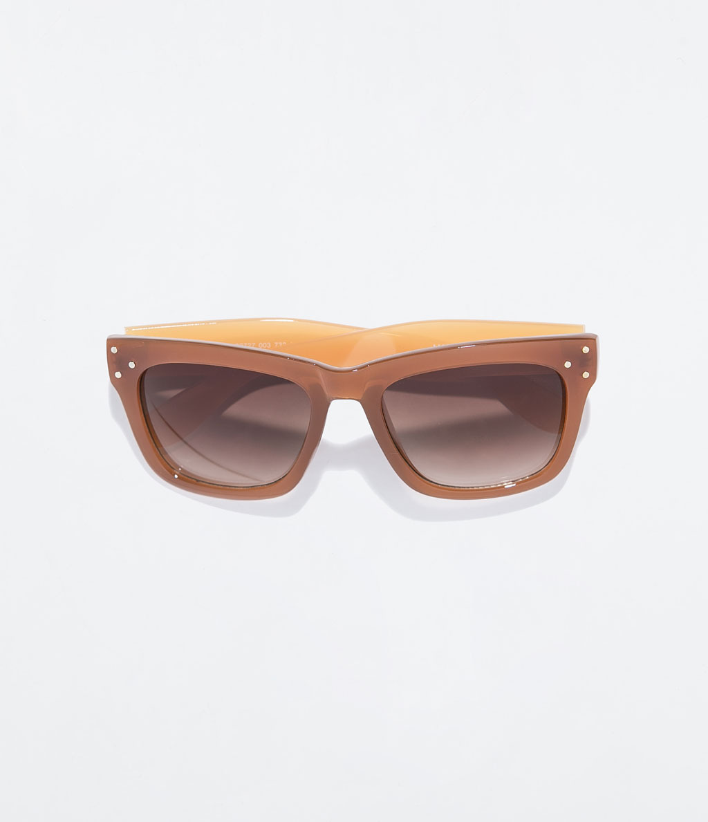 Two Tone Sunglasses - secondary colour: mustard; predominant colour: tan; occasions: casual, holiday; style: square; size: standard; material: plastic/rubber; pattern: plain; finish: plain; season: s/s 2014