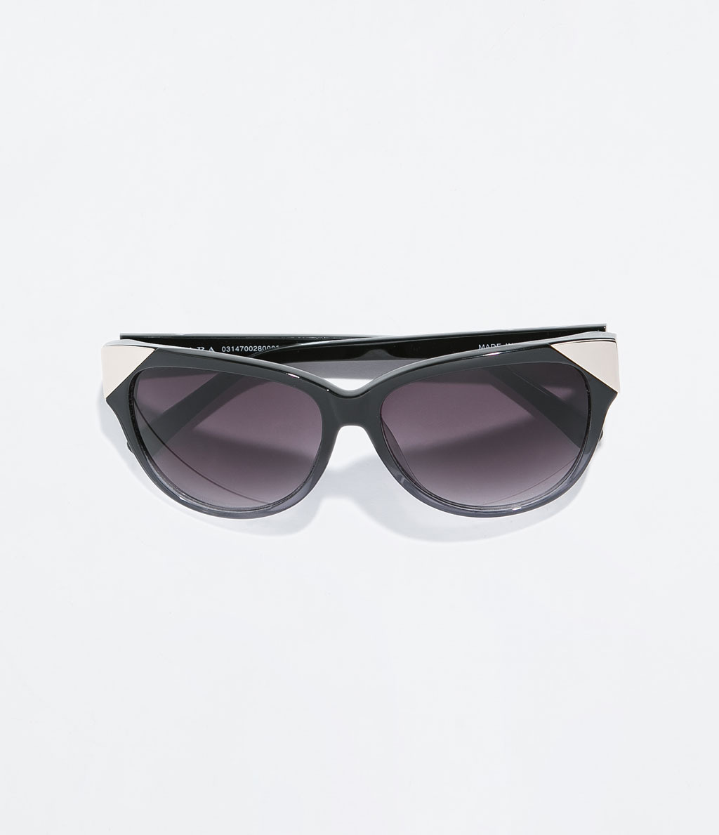 Sunglasses With Acetate Arms - secondary colour: silver; predominant colour: black; occasions: casual, holiday; style: cateye; size: standard; material: plastic/rubber; pattern: plain; finish: plain; season: s/s 2014