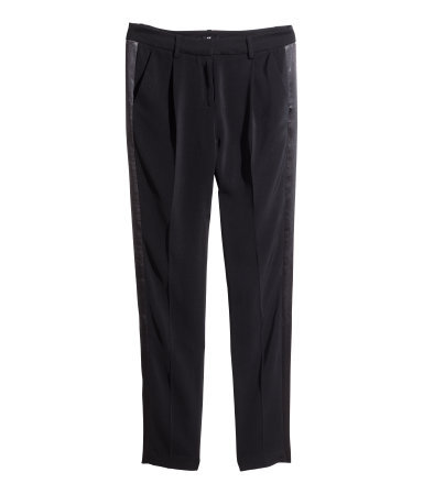 Tuxedo Trousers - pattern: plain; waist: mid/regular rise; predominant colour: black; occasions: evening, creative work; length: ankle length; fibres: polyester/polyamide - 100%; texture group: crepes; fit: tapered; pattern type: fabric; style: standard; season: s/s 2014