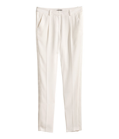 Tuxedo Trousers - pattern: plain; waist: mid/regular rise; predominant colour: ivory/cream; occasions: evening, occasion, creative work; length: ankle length; fibres: polyester/polyamide - 100%; fit: tapered; pattern type: fabric; texture group: other - light to midweight; style: standard; season: s/s 2014