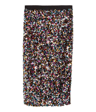 Sequined Skirt - length: below the knee; pattern: plain; fit: tight; waist detail: elasticated waist; waist: mid/regular rise; predominant colour: black; occasions: evening, occasion; fibres: polyester/polyamide - 100%; style: tube; pattern type: fabric; texture group: other - light to midweight; embellishment: sequins; secondary colour: pewter; season: s/s 2014; multicoloured: multicoloured; wardrobe: event; embellishment location: all over