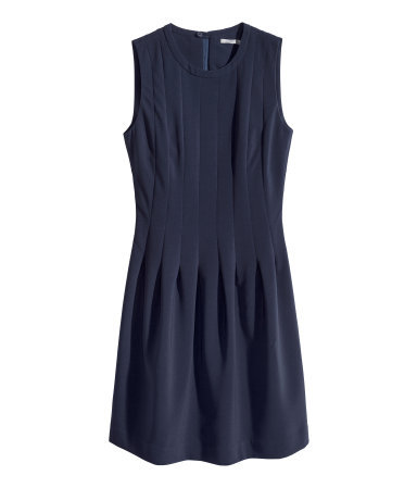 Sleeveless Dress - length: mid thigh; pattern: plain; sleeve style: sleeveless; predominant colour: navy; occasions: casual, occasion, holiday, creative work; fit: fitted at waist & bust; style: fit & flare; fibres: polyester/polyamide - stretch; neckline: crew; hip detail: structured pleats at hip; sleeve length: sleeveless; texture group: crepes; pattern type: fabric; trends: powerful pleats; season: s/s 2014