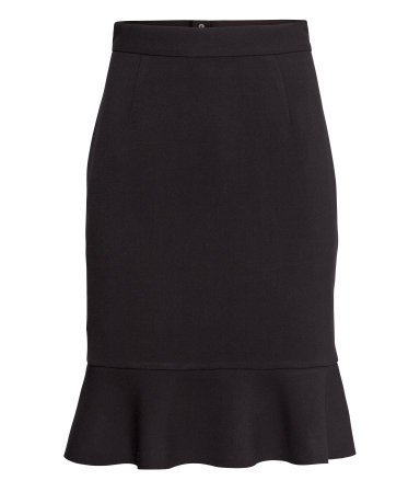 Frilled Skirt - pattern: plain; fit: tailored/fitted; waist: high rise; predominant colour: black; occasions: evening, work, occasion; length: on the knee; style: fit & flare; fibres: viscose/rayon - stretch; hip detail: ruffles/tiers/tie detail at hip; pattern type: fabric; texture group: jersey - stretchy/drapey; season: s/s 2014