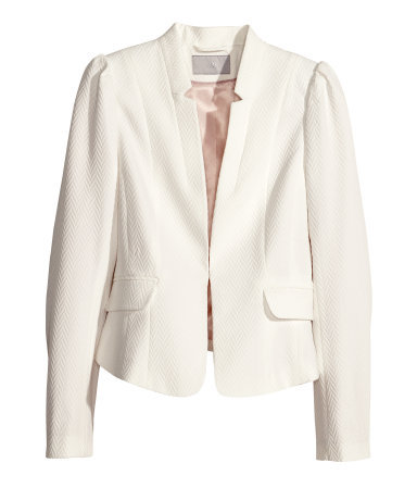 Jacket In A Textured Weave - pattern: plain; style: single breasted blazer; collar: standard lapel/rever collar; predominant colour: ivory/cream; occasions: evening, work, occasion; length: standard; fit: tailored/fitted; fibres: polyester/polyamide - stretch; sleeve length: long sleeve; sleeve style: standard; collar break: medium; pattern type: fabric; pattern size: light/subtle; texture group: woven light midweight; trends: sorbet shades; season: s/s 2014
