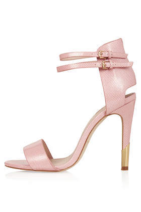 Rated Cut Out Sandals - predominant colour: pink; secondary colour: gold; occasions: evening, occasion, holiday; material: leather; ankle detail: ankle strap; heel: stiletto; toe: open toe/peeptoe; style: standard; finish: plain; pattern: plain; heel height: very high; trends: sorbet shades; season: s/s 2014