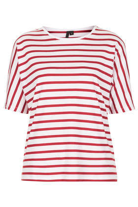 Seamless Stripe Tee Boutique - pattern: horizontal stripes; style: t-shirt; secondary colour: white; predominant colour: true red; occasions: casual, holiday; length: standard; fibres: cotton - 100%; fit: body skimming; neckline: crew; sleeve length: short sleeve; sleeve style: standard; pattern type: fabric; texture group: jersey - stretchy/drapey; season: s/s 2014; pattern size: big & busy (top)
