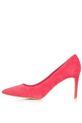 Glory High Heel Shoes - occasions: evening, work, occasion, creative work; material: suede; heel height: high; heel: stiletto; toe: pointed toe; style: courts; finish: plain; pattern: plain; predominant colour: raspberry; trends: hot brights; season: s/s 2014