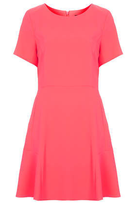 Fit And Flare Crepe Dress - length: mid thigh; neckline: round neck; pattern: plain; predominant colour: hot pink; occasions: casual, evening, occasion, creative work; fit: fitted at waist & bust; style: fit & flare; fibres: polyester/polyamide - 100%; sleeve length: short sleeve; sleeve style: standard; texture group: crepes; pattern type: fabric; trends: hot brights; season: s/s 2014